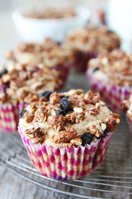 Mixed Berry Granola Muffins Recipe on twopeasandtheirpod.com Love these healthy muffins! #muffins #breakfast