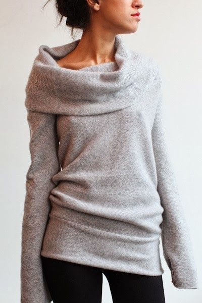 Patrizia Cashmere Cowl Neck Sweater.  This sweater looks incredibly comfy. -- Wish I could pull off a look like that.