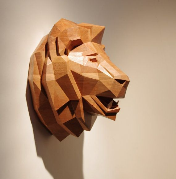 Wooden Lion Head Beautiful Cherrywood Sculpture