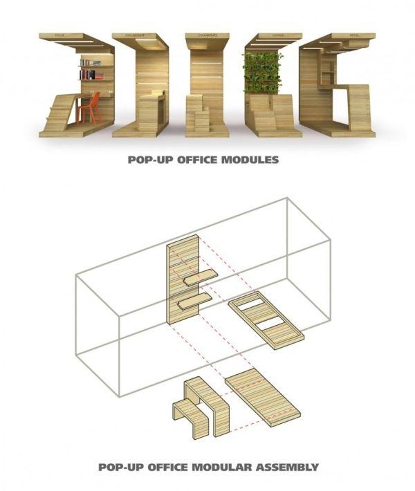 Módulos de madeira para escritório   – Büro_Euro Pallette