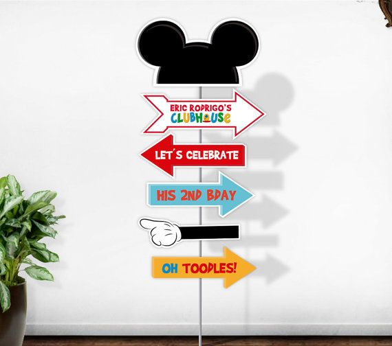 Welcome to Party Pop Printables and more!  *** This listing is for PRINTABLE Mickey Mouse Clubhouse personalized arrow sign No physical items will be shipped. NO INSTANT DOWNLOAD AVAILABLE!  Just PRINT, TRIM & CREATE!  Printable files will be emailed to your email address as print-ready PDF files.  ***** HOW TO ORDER: ITS EASY: ______________________________________________________________________  The process is simple!  1. Place your order and submit payment.  2. Include all personalized…