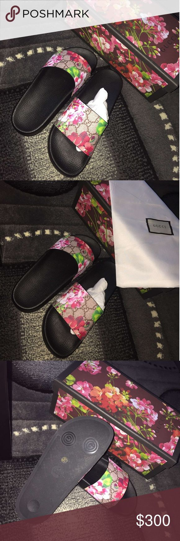 Gucci bloom slides Selling my Gucci bloom slides absolutely brand new! Only tried on...I'm a size 6.5 but ordered a 7 to be on the safe side do to European sizes but I prefer my shoes fit snug and these fit a tad bit big They're 100% authentic...comes with the box tags and dust bag.I have the receipt...i can  post a pic of it to show you..but I can not send with shoes due to it having personal payment..billing  and shipping info on it. gucci Shoes Flats & Loafers