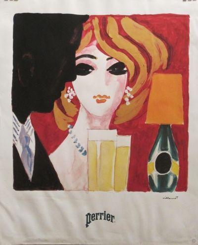 Vintage Perrier poster by Bernard Villemot circa 1970