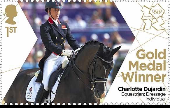 Charlotte Dujardin's gold medal stamp for Team GB Equestrian Dressage
