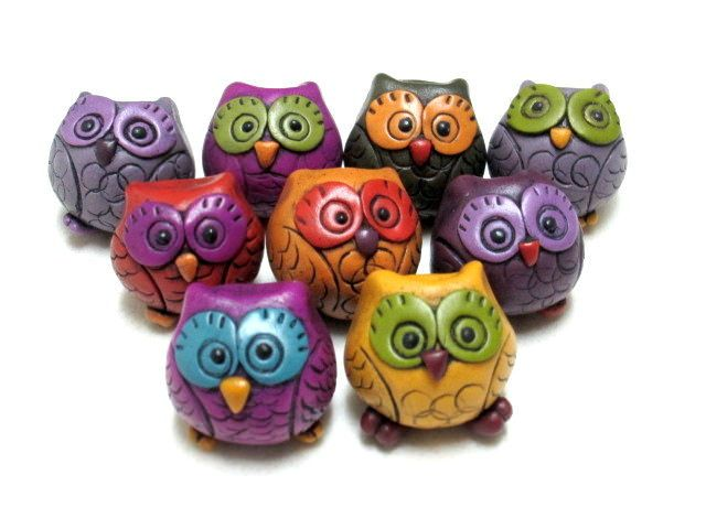 Hollow Polymer Clay Owl Bead | by Orly Fuchs Galchen