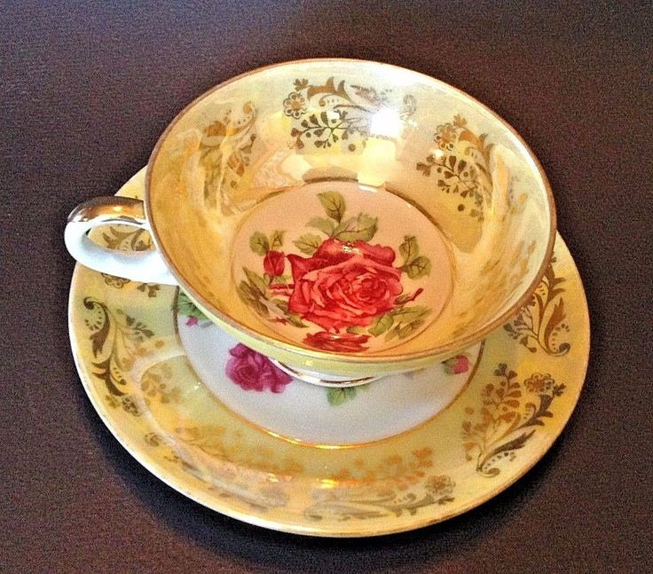 Made in Japan By Royal Sealy. Brilliant Pedestal Tea Cup And Saucer. Iridescent Yellow With Red And Yellow Roses. To Canada Australia And Japan. | eBay!