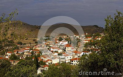 The village of Mesotopos, in western Lesvos, Aegean Sea, Greece.