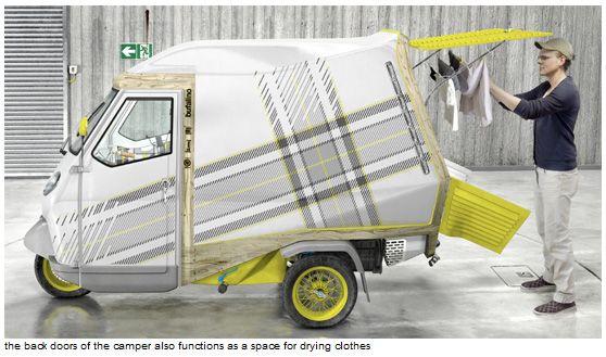 見ているだけで夢広がる! ドイツの工業デザイナー、コーネリアス・コマンス氏がデザインした小さな小さなキャンピングカー「bufalino」には、キッチンも冷蔵庫も水タン …