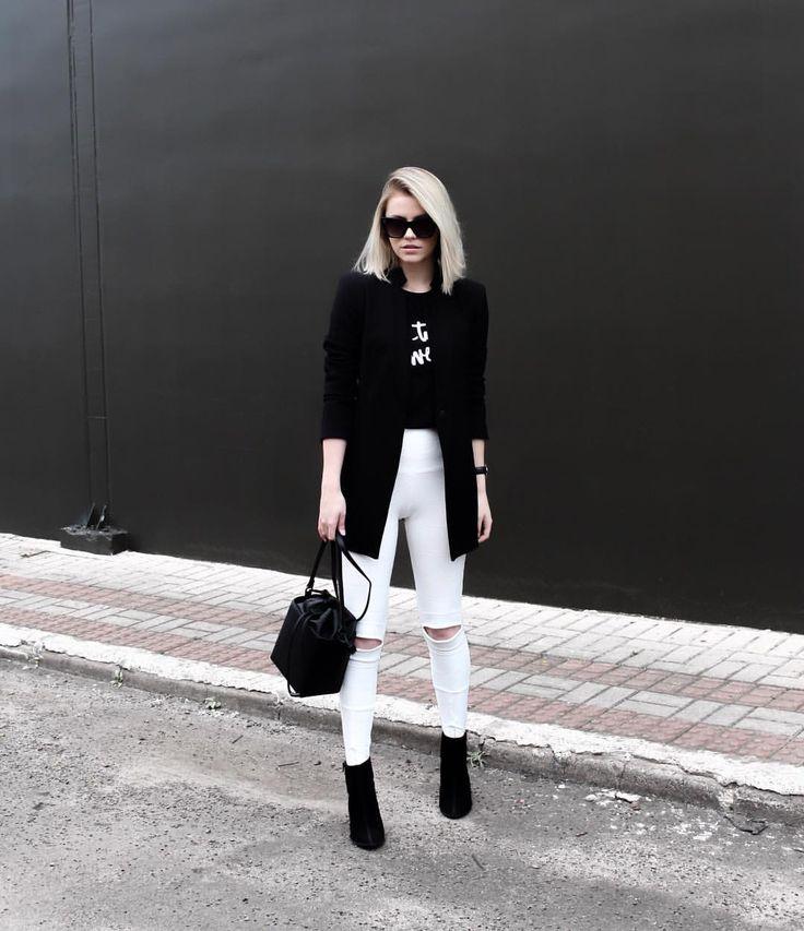 maxi blazer e calça de bandage branca. Black and white