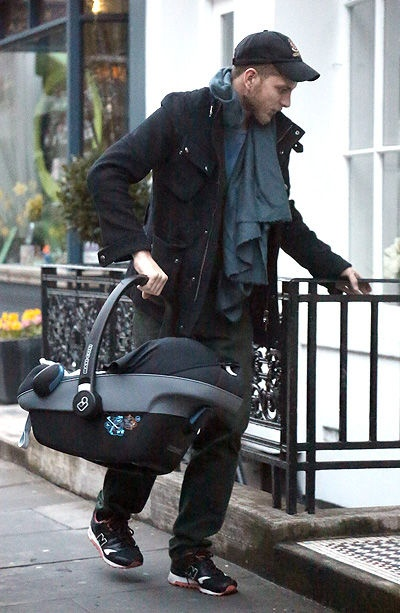 Andrea Casiraghi taking baby Sacha home from the hospital