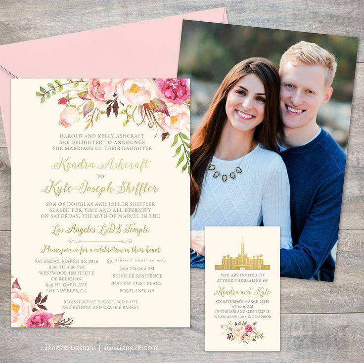 Custom boho spring wedding invitations with cream