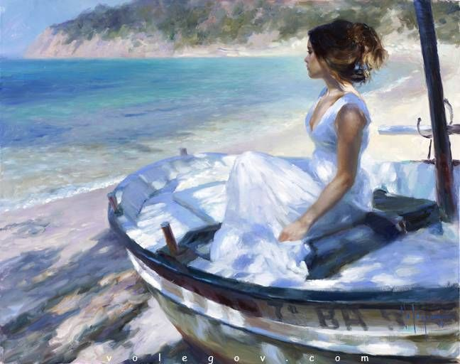 IN WHITE BOAT, painting