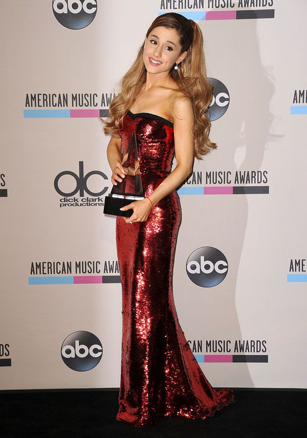 Ariana poses on the red carpet of the MTV Europe Music Awards in Amsterdam on November 10, 2013. -Cosmopolitan.com