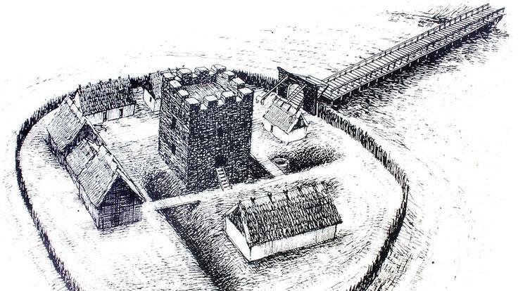 Næsholm Borgruin | Ny pælebro | Nygård Sø | Middelalderen | Borganlæg | Voldsted