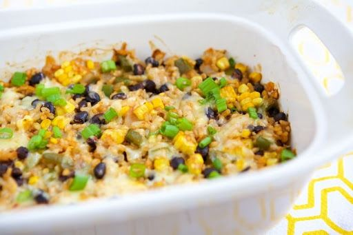 Vegetarian Rice & Bean Casserole With Onions, Green Pepper, Garlic Cloves, Olive Oil, Cooked Brown Rice, Pinto Beans, Black Beans, Whole Kernel Corn, Tomato Paste, Vegetable Stock, Ground Pepper, Kosher Salt, Dried Oregano, Cumin, Pepper Jack, Green Onions