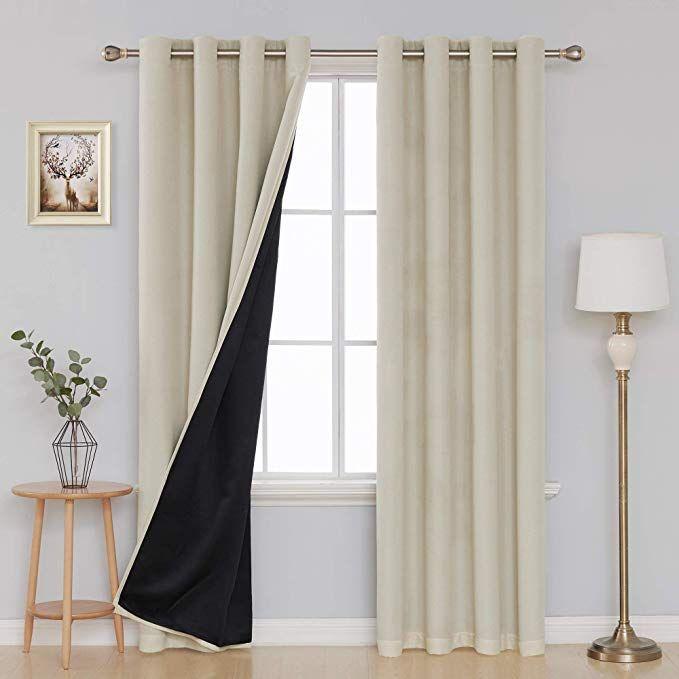 Deconovo Faux Linen 100 Percent Blackout Curtains Beige Curtains