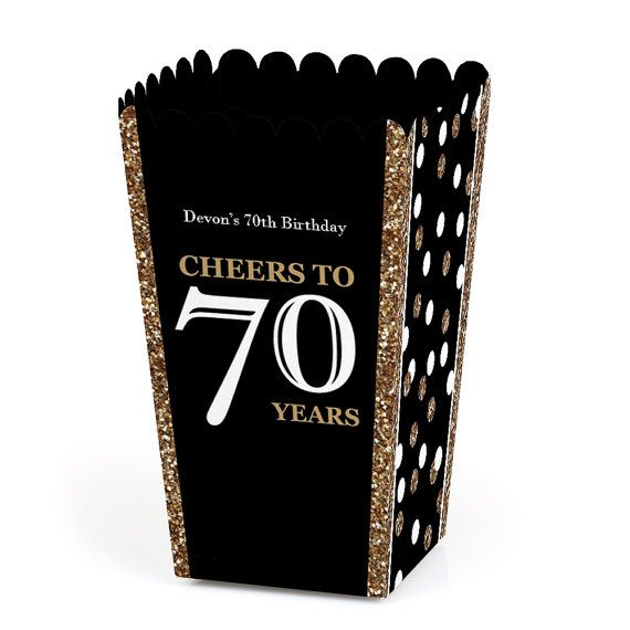 70th Birthday Popcorn Boxes Adult 70th by BigDotOfHappiness