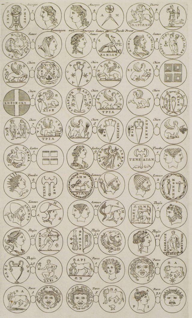 Aρχαία νομίσματα νησιών του Αιγαίου. - DAPPER, Olfert - ME TO BΛΕΜΜΑ ΤΩΝ ΠΕΡΙΗΓΗΤΩΝ - Τόποι - Μνημεία - Άνθρωποι - Νοτιοανατολική Ευρώπη - Ανατολική Μεσόγειος - Ελλάδα - Μικρά Ασία - Νότιος Ιταλία, 15ος - 20ός αιώνας