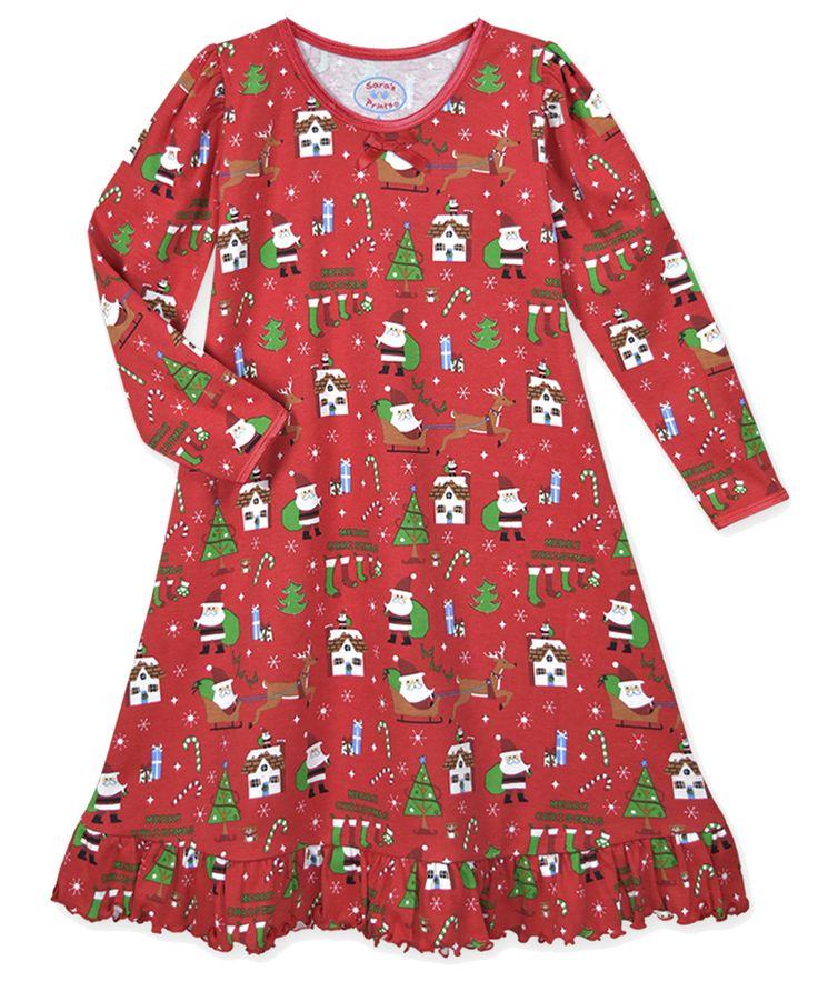 Sara's Prints Girls Red Santa / Reindeer Merry Christmas Nightgown