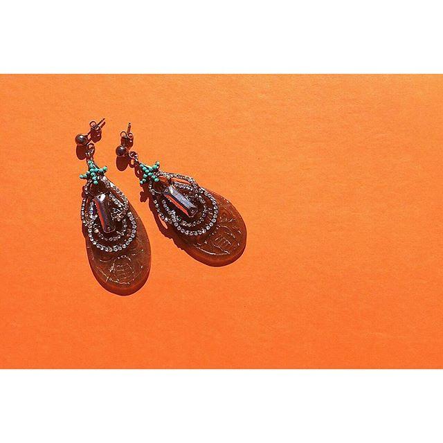 Carved jade earrings