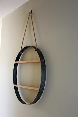 Shelf using barrel hoop