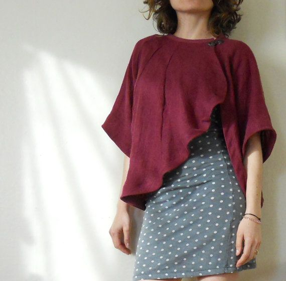 ON SALE Before 120 Dollars Bolero shrug cape style in wild berry color for women, valentines day, Red Pregnancy friendly