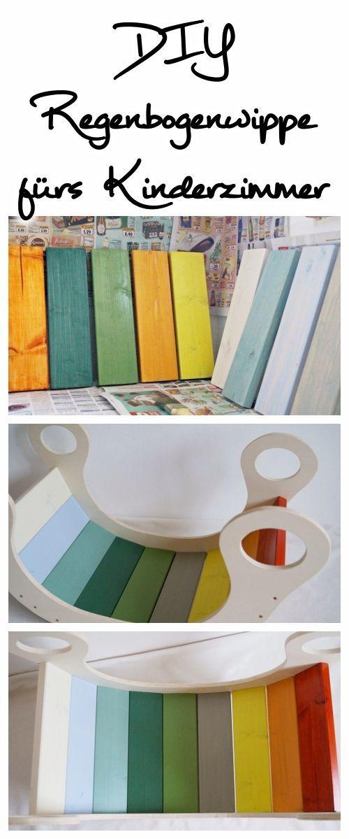 DIY Regenbogenwippe: Du möchtest auch so eine bunte Wippe fürs Kinderzimmer haben? Ich zeige dir, wie du diese ganz einfach nachbauen kannst! #diy #regenbogenwippe #kidsroom #kinderzimmer
