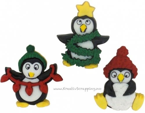 BUTTONS - DRESS IT UP JUL 7472 - HOLIDAY PENGUINS Pakke med 3 stk.   JESSE JAMES-Dress It Up Button Embellishments. Tiny embellishments for adding dimension to all of your scrapbook pages, cards, invitations and craft projects. Button embellishments come in a variety of shapes and sizes and some even feature glitter. Size, shape and number of embellishments per package varies by theme.