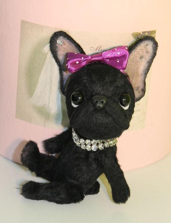Zwarte Franse Bulldog Becky handgemaakt door Corrie door Cjutiebears, €95.00