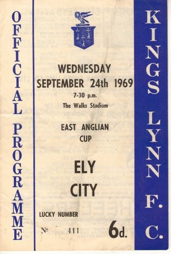 Home vs Ely City   East Anglian Cup   24th September 1969