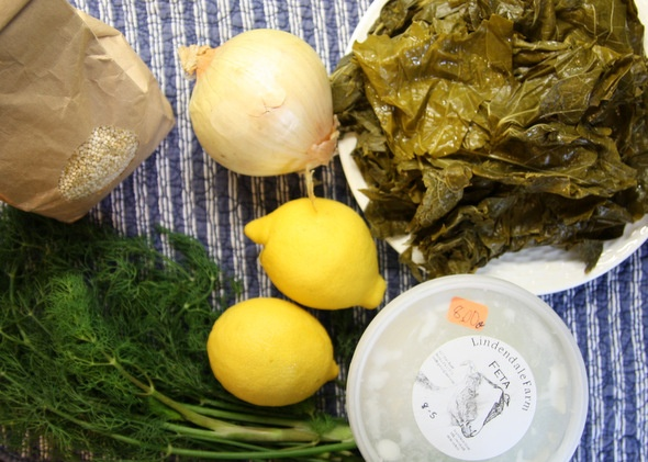 Feta, Quinoa, and Pinenut Stuffed Grape Leaves (or leave the leaves...and just eat a nice salad)   Washington's Green Grocer