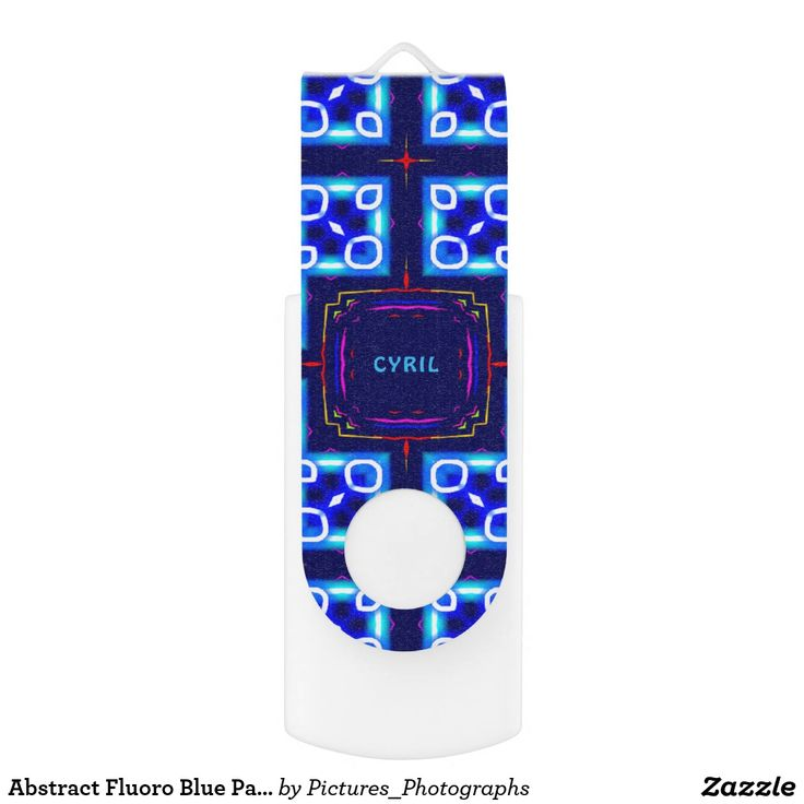 Abstract Fluoro Blue Pattern ~Personalised CYRIL ~ USB Flash Drive