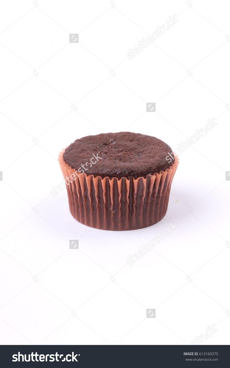 Muffin chocolate on white background