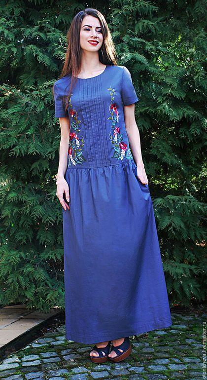 9163e11be2e Купить или заказать Летнее вышитое платье в пол  Глициния  в  интернет-магазине на Ярмарке Мастеров. Длинное летнее платье с вышивкой.