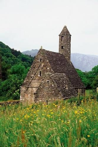 Glendalough, Ireland has a monastery founded by St, Kevin, a hermit monk, in the early 600s and several old churches like this one  Love this