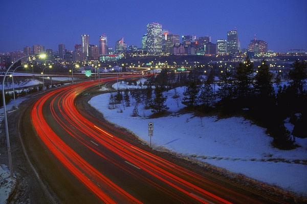 Winter view of downtown Edmonton at night.