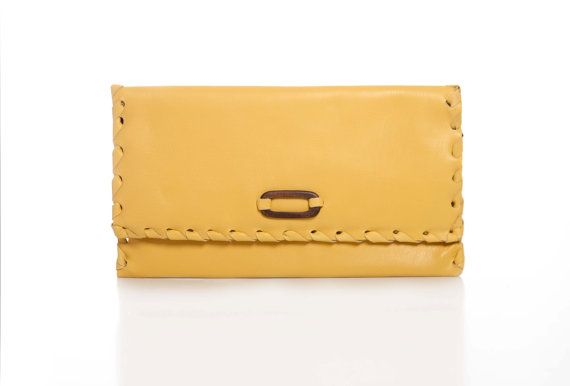 Yellow Leather Clutch  Leather Evening Envelope by EleannaKatsira, €90.00