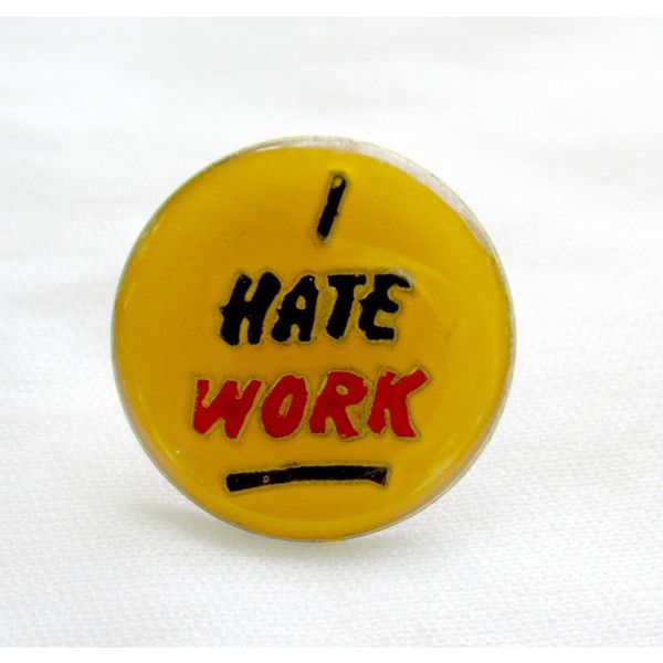 Hat Pins Vintage Funny Enamel Buttons I Hate Work 1980s Retro Stocking... (€8,46) ❤ liked on Polyvore featuring jewelry, brooches, vintage brooches, eighties jewelry, 1980s jewelry, vintage retro jewelry and pin brooch