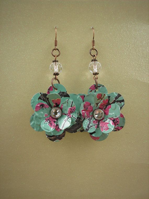 Recycled Soda Can. Blooming Rose with Crystal. DOUBLE-sided Earrings. Soda Can Art
