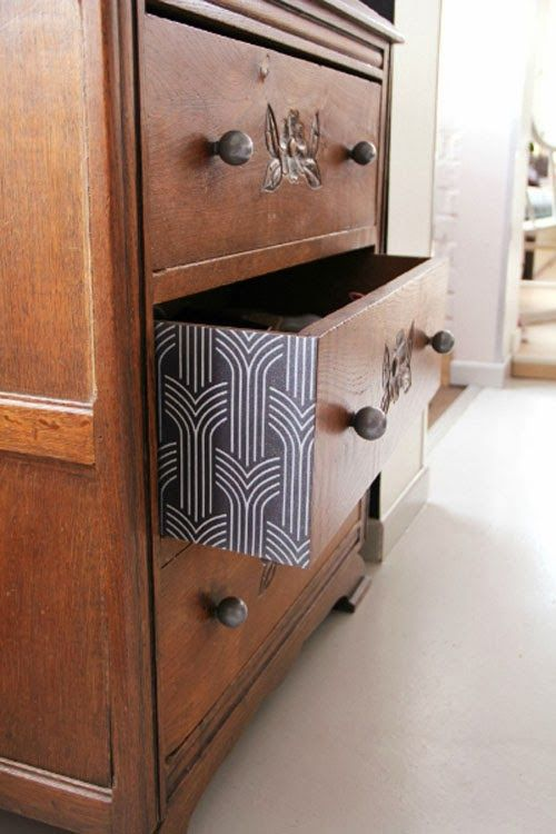 Wallpaper on drawer sides a pop of pattern bricolage for Sweet home meuble