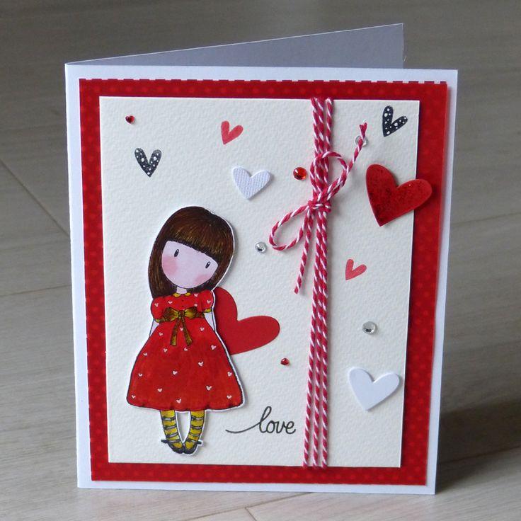 Valentýnské přání Santoro Gorjuss Valentýnské přání s lepenými ozdobami, 3D efekt, razítko Santoro Gorjuss kolorované akvarelem. Rozměr 17 x 14 cm. Bílá obálka v ceně.