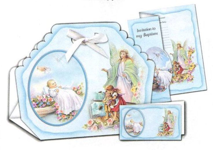 12 Baptism Bomboneiras, Ribbons, Party Favors, and Invitations with Envelopes - Baby Boy with Guardian Angel, in Spanish