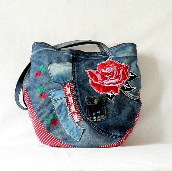 Crazy appliqued hippie bag. Embroidered denim jeans recycled hip bag.Uniqe design.Hippie boho style.Long functional harness,Magnet - fastener. Measurements: 16 x 16,5 in [41 x42 cm ] Lenght harness 33,5 in [90 cm ]