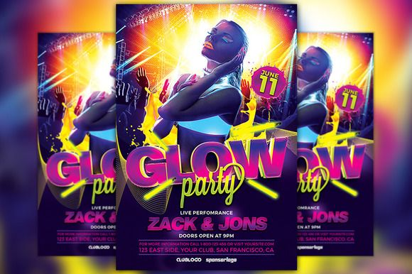 UV Glow Party Flyer Template by Flyermind on @creativemarket