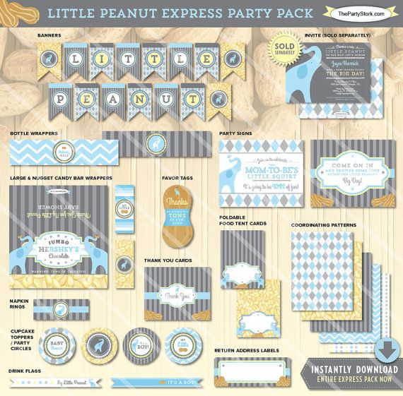 Elephant baby shower decorations printable party package for Baby shower decoration packages