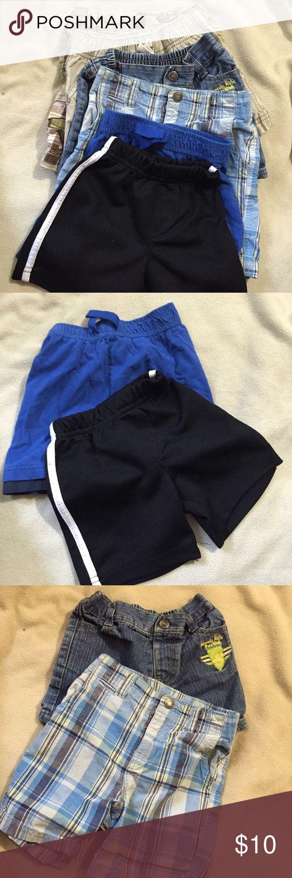 6--2t short bundle Black/white 2t gym shorts, Garanumals blue 24 mo shorts, Carters blue/green 24 mo shorts, Beverly Polo 6-9 mo blue shorts (fits 2t), Carters khaki 2t shorts, and Old Navy khaki with palms 2t shorts Carter's Bottoms Shorts