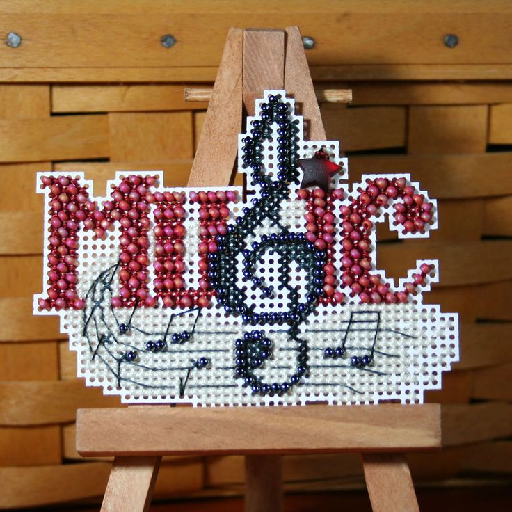 Music Beaded Cross Stitch Ornament, Pin, or Magnet. $11.00, via Etsy.