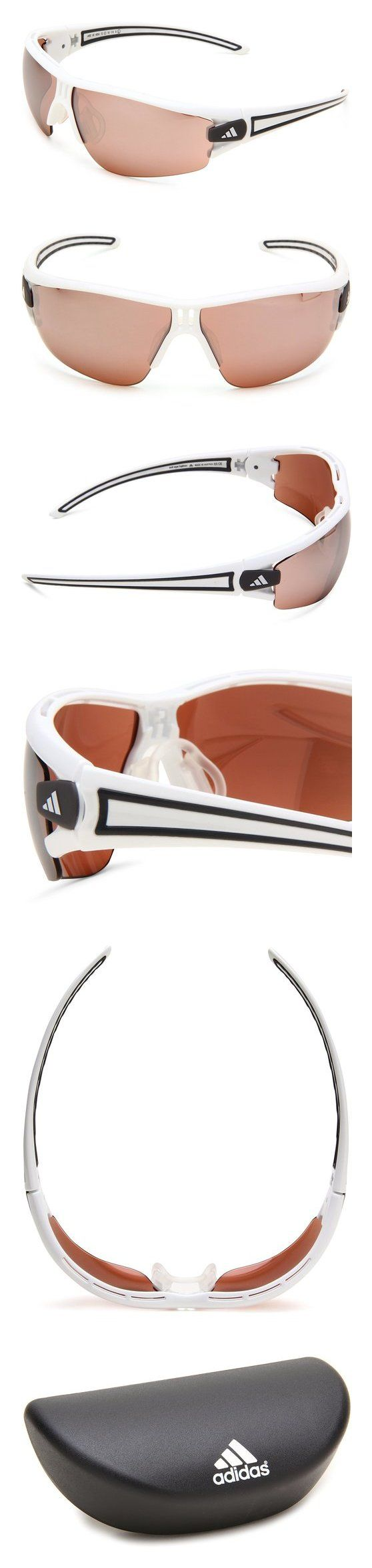 $127.06 - adidas Evil Eye Halfrim L a402 6059 Rectangle Sunglasses Shiny White/Anthracite LST Active Silver #adidas