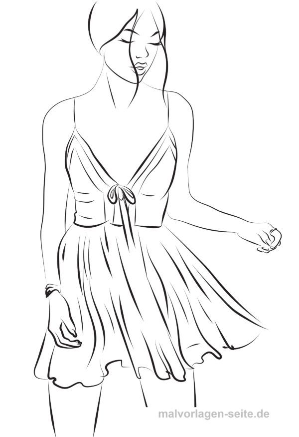 Model ausmalen Topmodel Malvorlage Kleid in 2020