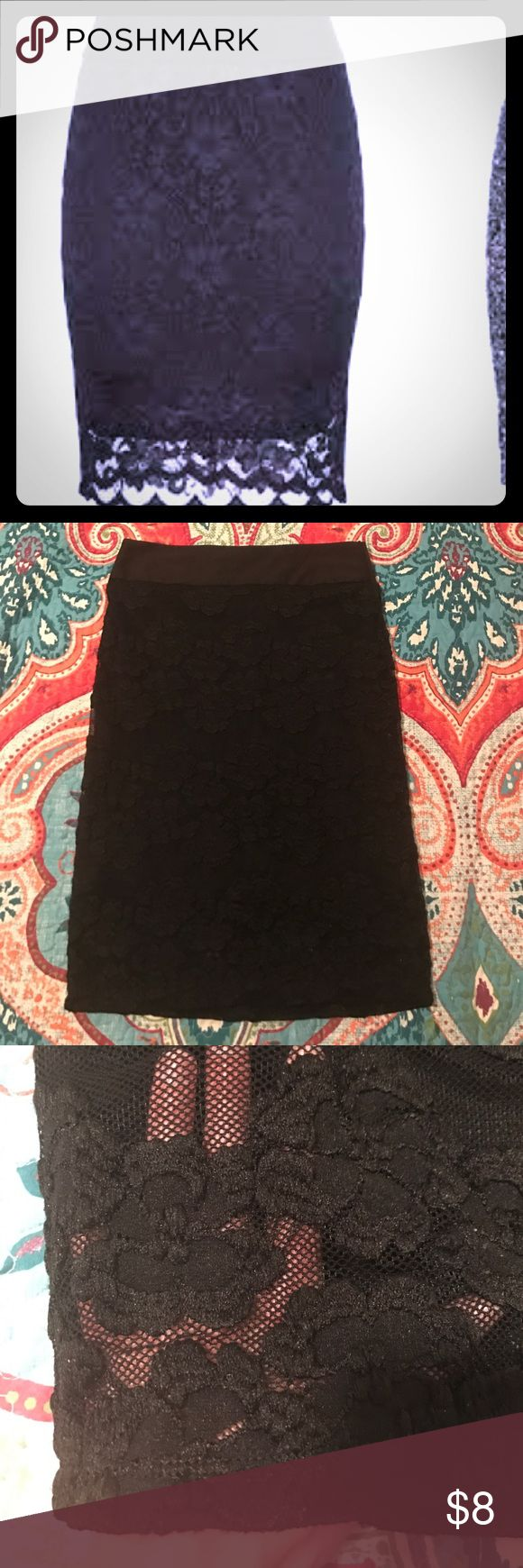 Black Lace Pencil Skirt Beautiful Black Lace pencil skirt. Maurice's brand. In great shape worn quite a bit. It's a great skirt!! Maurices Skirts Pencil